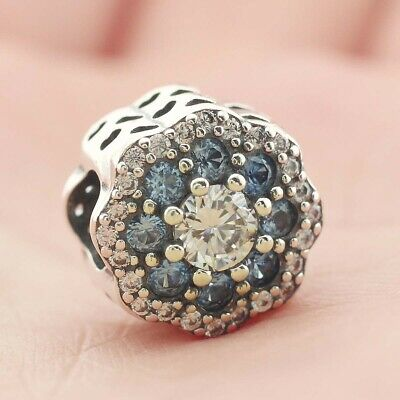 925 Sterling Silver Blue Sparkle Flower Charm Bead Clear CZ Fit Bracelet New