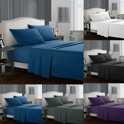 Flat Bed Sheet Set  Fitted Sheet  Double King Super King Size Pillow Cases Home