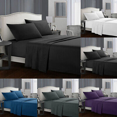 Flat Bed Sheet Set  Fitted Sheet&PillowCases Double King S King Size For Bedroom