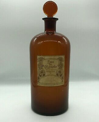 Antique Large Bottle Pharmacy Glass Brown Water Cologne Distilled on Flowers