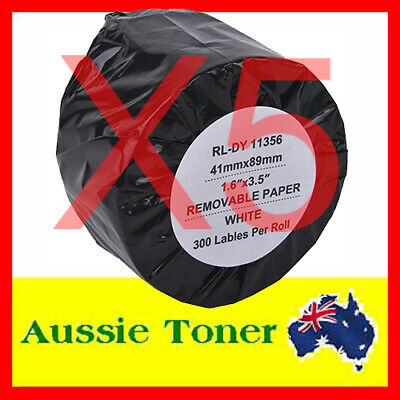 5x Compatible Label Roll 300 Labels For Dymo LW 11356 SD11356 41mm x 89mm