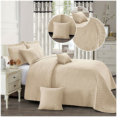 Luxury 3 Piece Beige Quilted Bedspread Embossed Bedding Throws With Pillow Shams