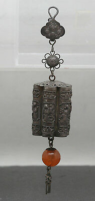 Very Rare antique Chinese Sterling Silver Toggle Original Agate Beads c1850s
