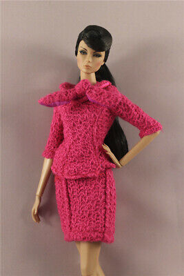 Fashion OL Rose Top+Skirt dress Suit clothes Outfit For 11.5 inch Ba bie Doll