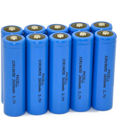12PCS ICR18650 2600mAh 3.7V Button Top Li-ion Battery for Flashlights New PKCELL