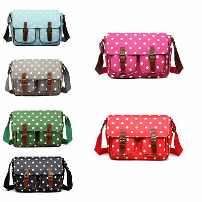 17efb710d5fa5 BNWT MISS LULU Oilcloth Spotty Print Satchel Shoulder Messenger Bag Pink or  Red