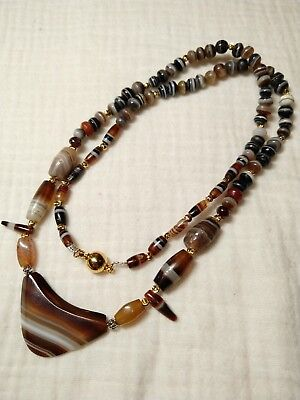 2000yrs+ ancient western asian banded agate beads necklace #91165