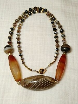 2000yrs+ ancient western asian banded agate beads necklace