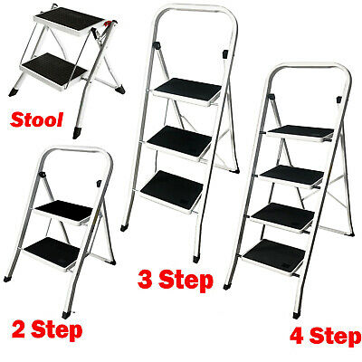 Foldable 2 3 4 Step Ladder Anti-Slip Rubber Mat Tread Steel Ladders Kitchen Home