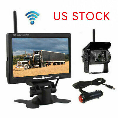 """Wireless Rear View Backup Camera Night Vision + 7"""" Monitor Kit for RV Truck"""