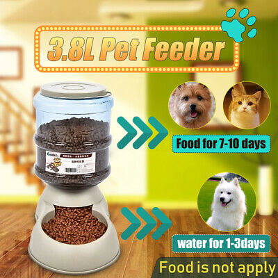 3.8L Automatic Pet Dog Cat Water Bowl Food Feeder Waterer Bottle Bowl Dispenser