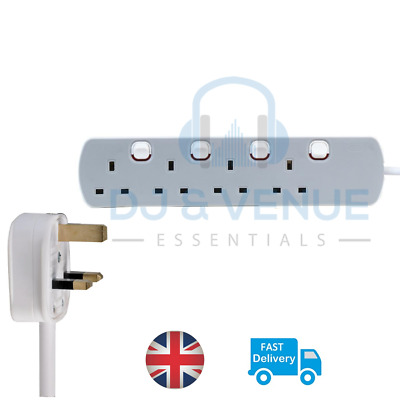 4 Way - Gang Extension Lead Grey and White neon Switched UK Plug 13A