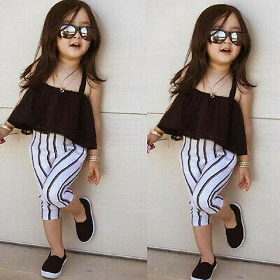 2PCS Toddler Kids Baby Girls Outfits Solid T-shirt Tops Long Pants Clothes Set