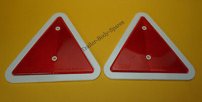 FREE UK POST 2 x Red Triangle Rear Reflectors with White Surrounds/ Trailers
