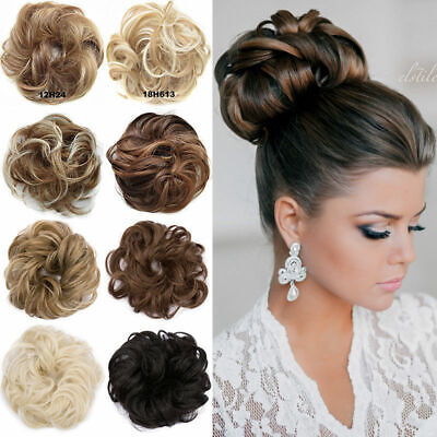 Real Thick Curly Messy Bun Hair Piece Scrunchie 100% Natural Hair Extensions