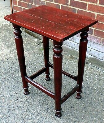 Victorian antique craft made solid mahogany pine military bar stool side table
