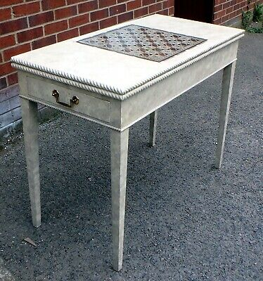 George III antique style marble paint effect foldover games chess console table