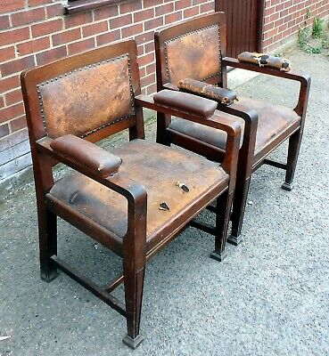 Pair large Edwardian antique Arts Crafts solid oak leather club carver armchairs