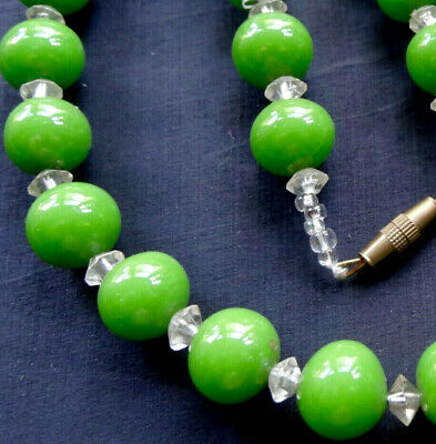 vintage art deco bright pea green & clear glass bead necklace -Y42