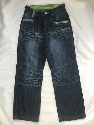 Dead Or Alive Mens / Boys Blue Denim Jeans Crease Fade Washed Trousers - W28 L29