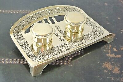 Art Nouveau circa 1905 brass double inkwell desk inkstand with ink liners
