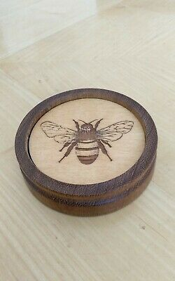 Hand made set of 4 wooden Bee drink coasters with Wood turned Solid oak holder
