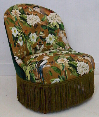 Vintage French Slipper Chair upholstered in a Jungle Print and Velvet Fabric