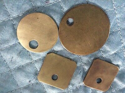 4-VTG BLANK solid brass CATTLE EAR/HOTEL ROOM +2 SQUARE TAGS