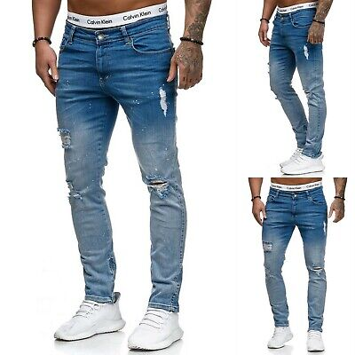 Young fashion destroyed Herren Style Skinny Fit Röhre Blau Jeans Hose Zerissen