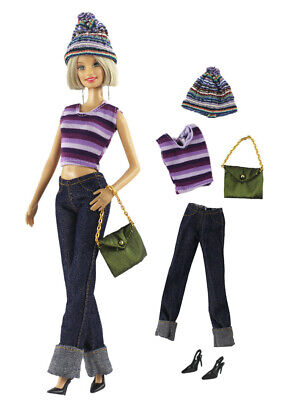 5 Pcs Set Fashion Outfit Top+pants+hat+bag+shoes FOR 11 in. Doll Clothes