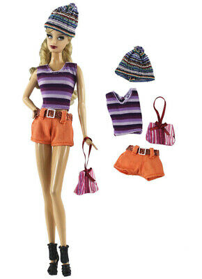 5 Pcs Set Fashion Outfit Top+pants+hat+bag+shoes FOR 11 in. Doll Clothes #01