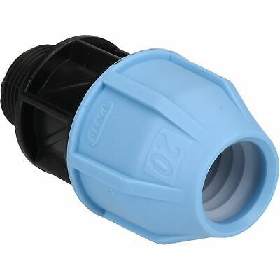 """20mm x 3/4"""" MDPE Male Adapter Compression Coupling Fitting Water Pipe PN16"""