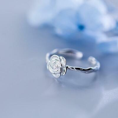 Sterling Silver Rose Blossom Ring - 925 Real Silver Rings - Adjustable Flower Ri