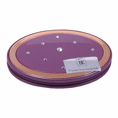 Danielle Creations Oval Compact Mirror with Crystals - Pearl Violet