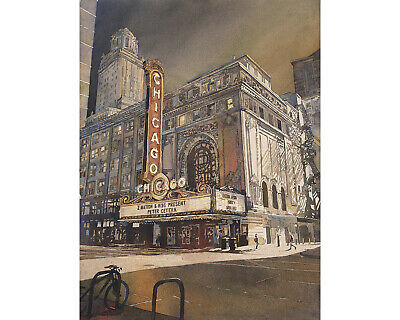 Chicago Theatre at sunset.  Fine art watercolor painting (print) artwork