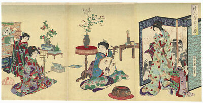 Playing Music, 1888; ORIGINAL Chikanobu Japanese print
