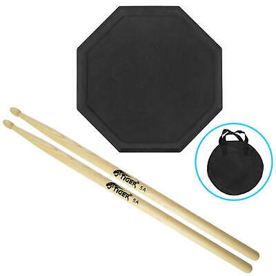 "Tiger TDA4-Pack, 8"" Drum Practice Pad with 5A Hickory Drumsticks and Carry Bag"