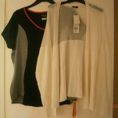 New with Tags ladies size 22 bundle, M&S fitness top, F&F cream cardigan (lot H)