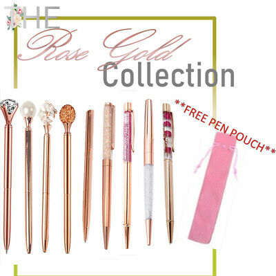 Rose Gold Collection MRS HINCH Crystal Ballpoint  Luxury Pen Gift FREE PEN POUCH