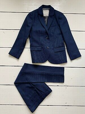Zara Boys Kids Blue Navy Suit Jacket Trousers Smart Wedding Formal 7 Y H 122