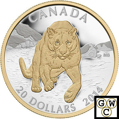 2014 'Cougar-Pouncing in the Snow' Prf $20 Silver Coin 1oz .9999Fine(15288)OOAK