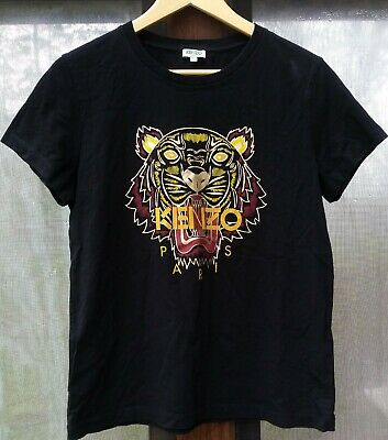 932f9070 KENZO PARIS BLACK Tiger Logo Lightning Bolt Crewneck Tee T-Shirt ...