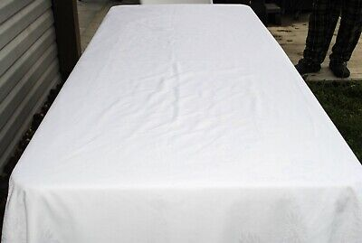 """1920s Vintage White Damask Tablecloth Daisy Floral Banquet Size 100"""" x 63"""" OVAL"""