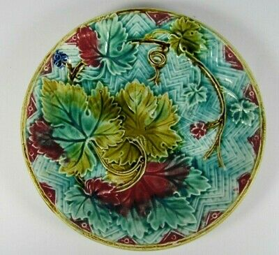Antique French Majolica Art Nouveau Green Pink Leaves Victorian Wall Plate c1890