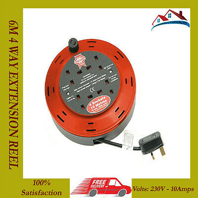 New High Quality Faithfull 6m 4 Way/Gang/Socket Extension Cable Reel