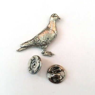 Pigeon Brooch Pin Badge made with UK Pewter & Gift Box Option