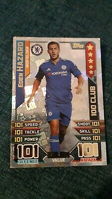 Match Attax 2015/16 Eden Hazard 100 Hundred Club No 463 Mint