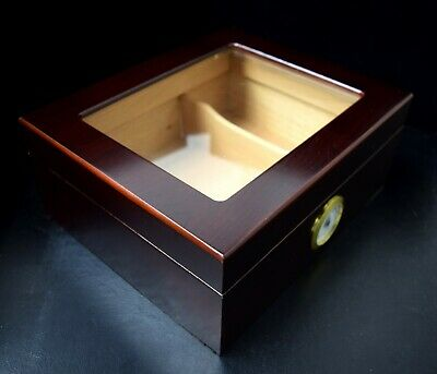 Brand New Humidor w/ Glass Top - 25ct / 50ct (Mahogany Finish) - for Cigars