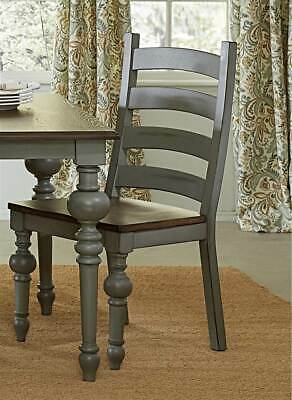 Ladder Dining Chair in Distressed Oak Finish - Set of 2 [ID 3645579]