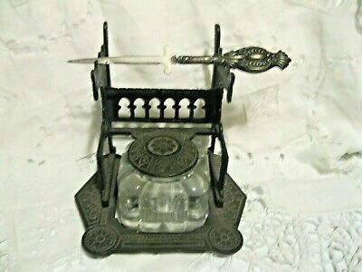 Atq Victorian Iron East Lake Style Decoration Inkwell dated 1879 & Letter Opener